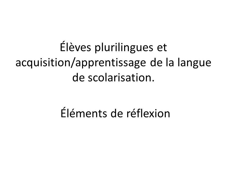 Élèves plurilingues et acquisition/apprentissage de la langue de scolarisation. Éléments de réflexion