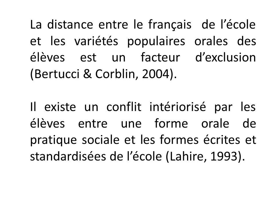 La distance entre le français de lécole et les variétés populaires orales des élèves est un facteur dexclusion (Bertucci & Corblin, 2004). Il existe u