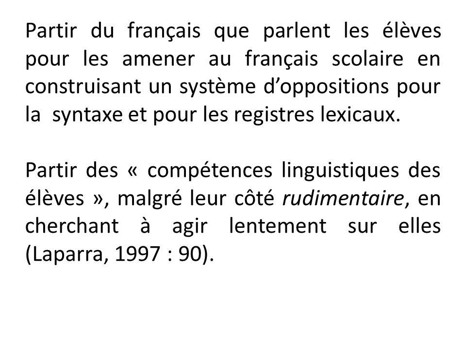Partir du français que parlent les élèves pour les amener au français scolaire en construisant un système doppositions pour la syntaxe et pour les reg