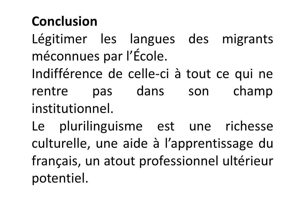 Conclusion Légitimer les langues des migrants méconnues par lÉcole. Indifférence de celle-ci à tout ce qui ne rentre pas dans son champ institutionnel