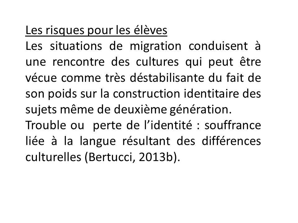 Les risques pour les élèves Les situations de migration conduisent à une rencontre des cultures qui peut être vécue comme très déstabilisante du fait