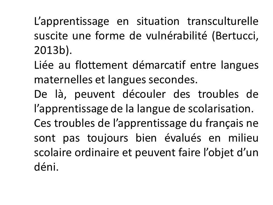 Lapprentissage en situation transculturelle suscite une forme de vulnérabilité (Bertucci, 2013b). Liée au flottement démarcatif entre langues maternel
