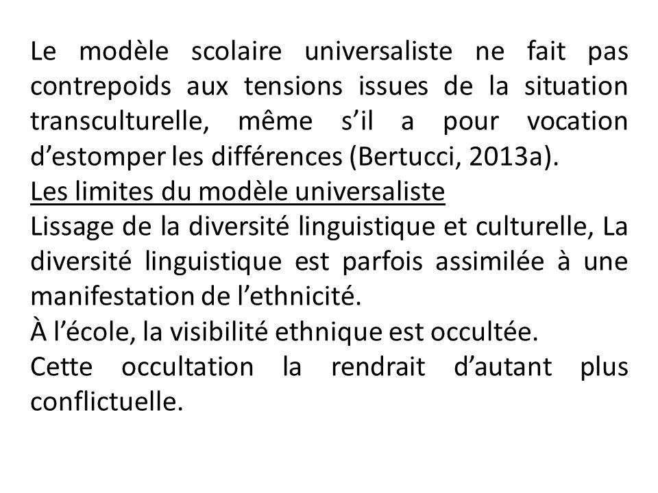 Le modèle scolaire universaliste ne fait pas contrepoids aux tensions issues de la situation transculturelle, même sil a pour vocation destomper les différences (Bertucci, 2013a).