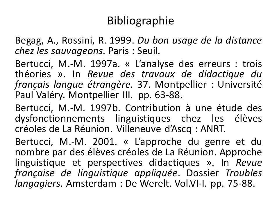 Bibliographie Begag, A., Rossini, R. 1999. Du bon usage de la distance chez les sauvageons. Paris : Seuil. Bertucci, M.-M. 1997a. « Lanalyse des erreu