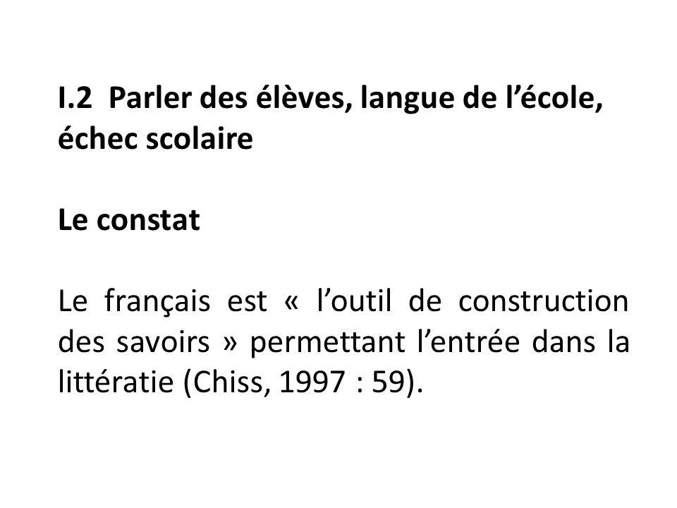 I.2 Parler des élèves, langue de lécole, échec scolaire Le constat Le français est « loutil de construction des savoirs » permettant lentrée dans la littératie (Chiss, 1997 : 59).