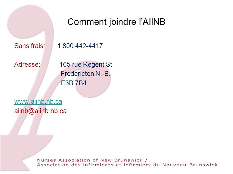Comment joindre lAIINB Sans frais: 1 800 442-4417 Adresse: 165 rue Regent St Fredericton N.-B.