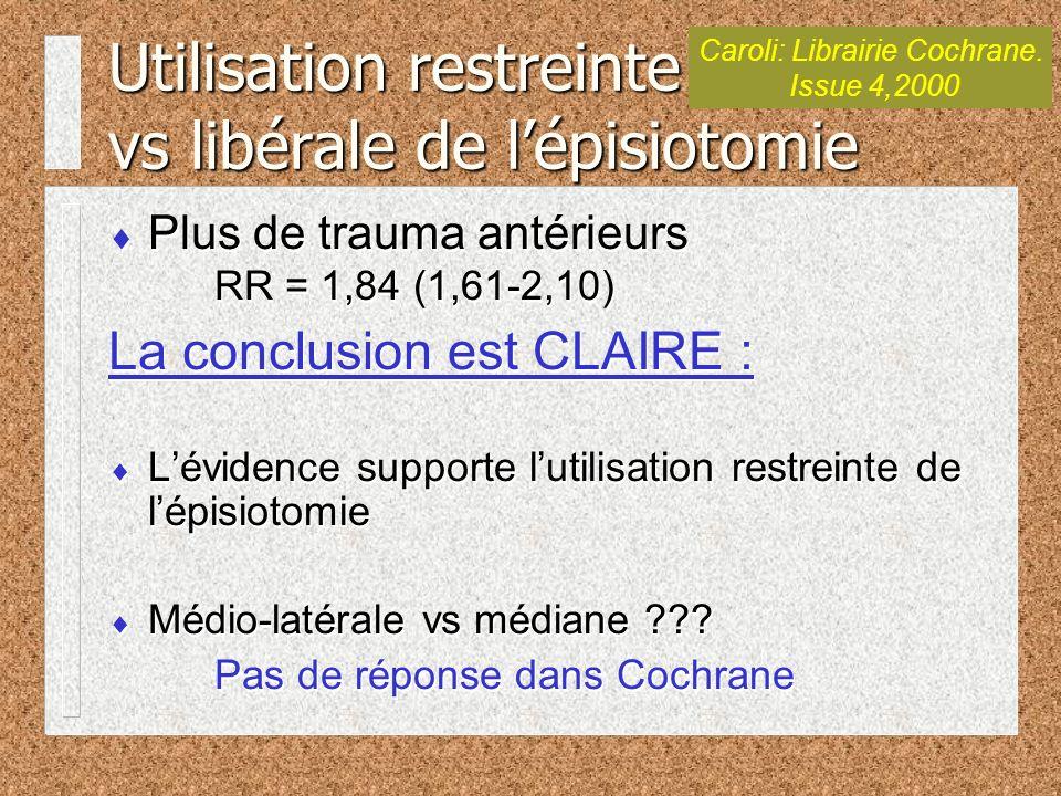 Plus de trauma antérieurs RR = 1,84 (1,61-2,10) La conclusion est CLAIRE : Lévidence supporte lutilisation restreinte de lépisiotomie Médio-latérale vs médiane ??.