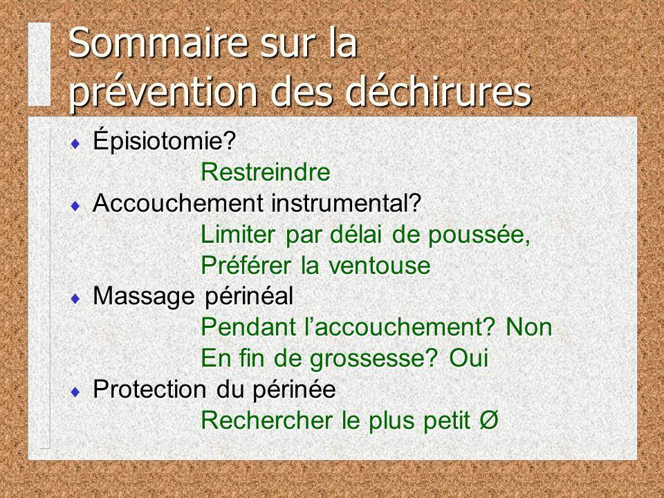 Sommaire sur la prévention des déchirures Épisiotomie.