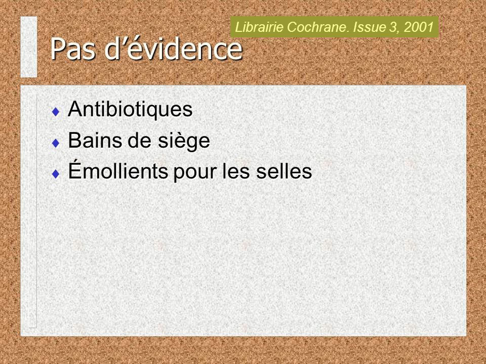 Pas dévidence Antibiotiques Bains de siège Émollients pour les selles Antibiotiques Bains de siège Émollients pour les selles Librairie Cochrane.