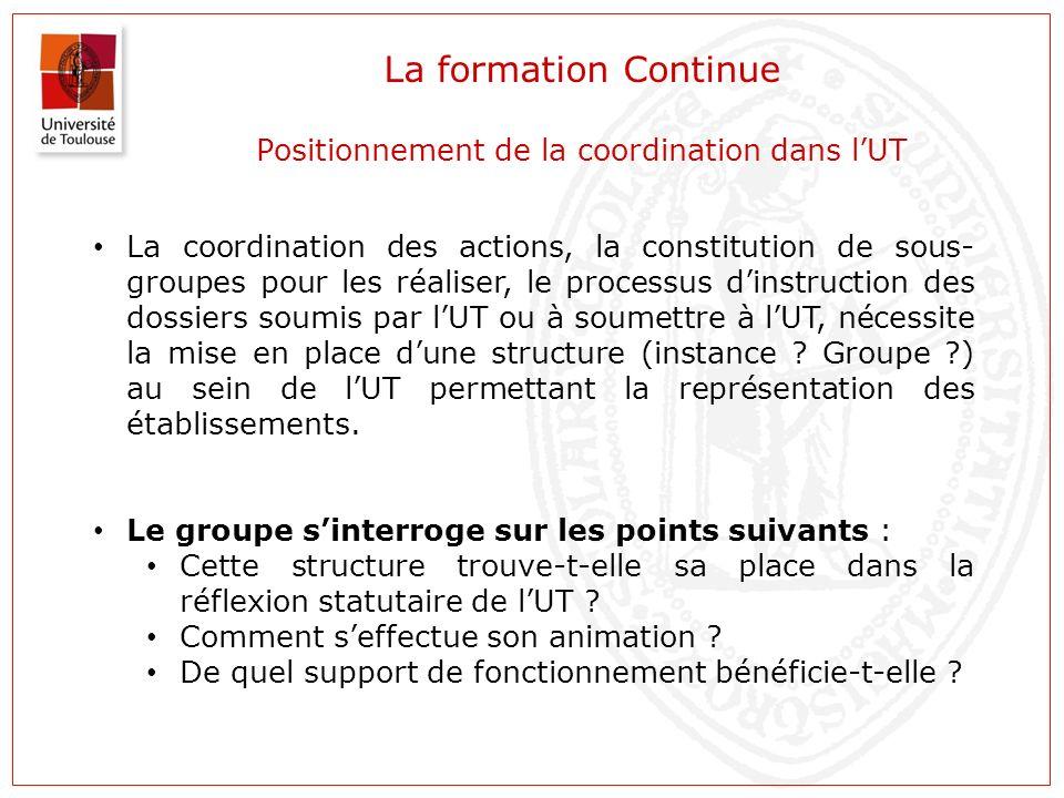 La formation Continue Positionnement de la coordination dans lUT La coordination des actions, la constitution de sous- groupes pour les réaliser, le p