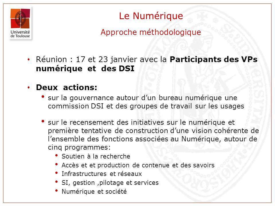 Le Numérique Approche méthodologique Réunion : 17 et 23 janvier avec la Participants des VPs numérique et des DSI Deux actions: sur la gouvernance aut