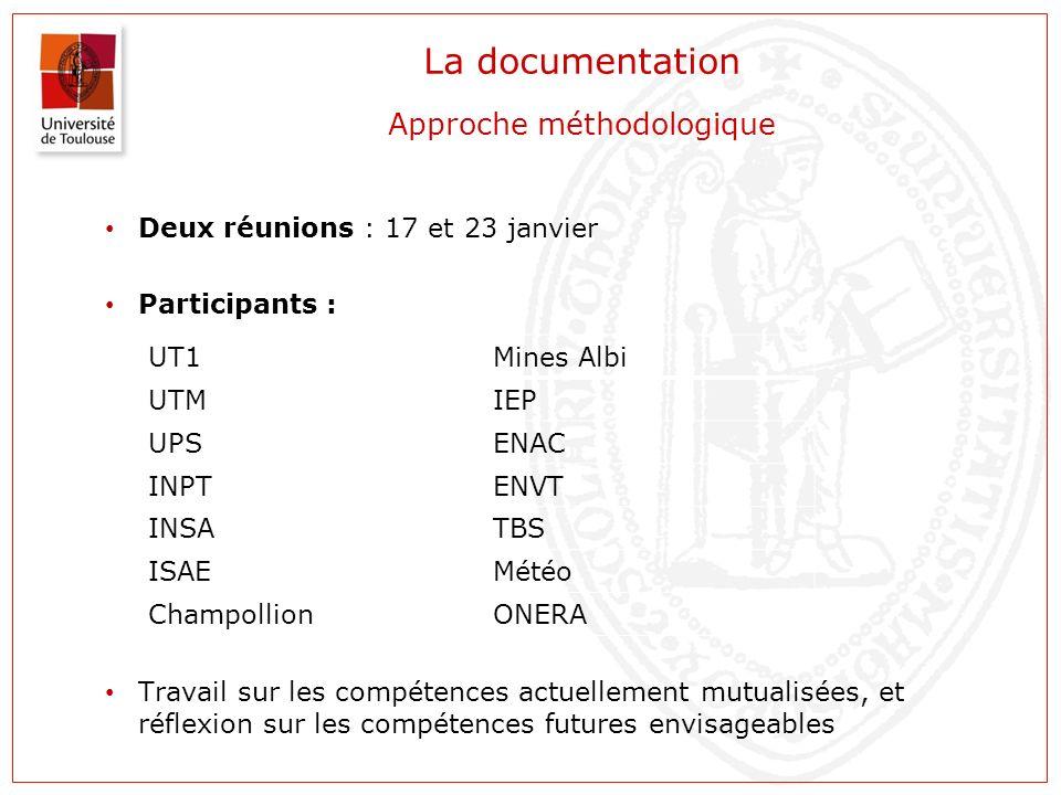 La documentation Approche méthodologique Deux réunions : 17 et 23 janvier Participants : Travail sur les compétences actuellement mutualisées, et réfl