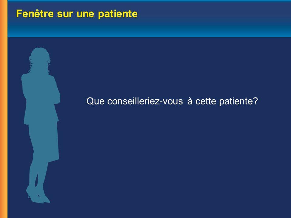 Fenêtre sur une patiente Que conseilleriez-vous à cette patiente?