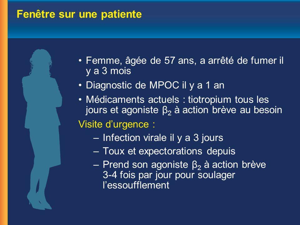 Impact des exacerbations de la MPOC Impact sur les symptômes et la fonction respiratoire Impact négatif sur la qualité de vie Utilisation accrue des ressources de santé et hausse des coûts Déclin accéléré de la fonction respiratoire Mortalité accrue EXACERBATIONS 1.ODonnell DE, et al.