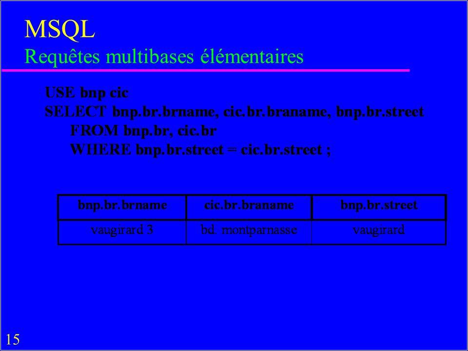 15 MSQL Requêtes multibases élémentaires