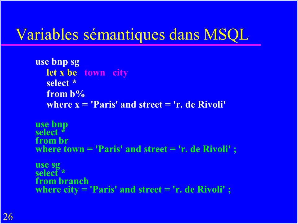 26 Variables sémantiques dans MSQL use bnp sg let x be town city select * from b% where x = 'Paris' and street = 'r. de Rivoli' use bnp select * from
