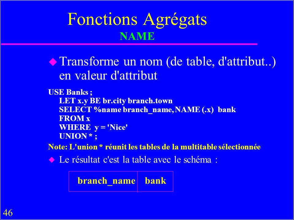 46 Fonctions Agrégats NAME u Transforme un nom (de table, d attribut..) en valeur d attribut USE Banks ; LET x.y BE br.city branch.town SELECT %name branch_name, NAME (.x) bank FROM x WHERE y = Nice UNION * ; Note: L union * réunit les tables de la multitable sélectionnée u Le résultat c est la table avec le schéma : branch_name bank