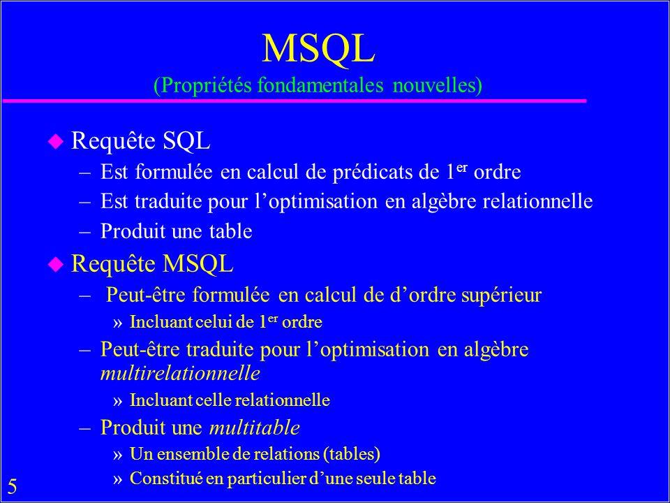 66 MsAccess & MSQL u Open B USE B u Clause ATTACH table Open B1 attach B2.T as T create view B1.T as select * from B2.T u DROP VIEW correspond à Delete dans un menu de MsAccess