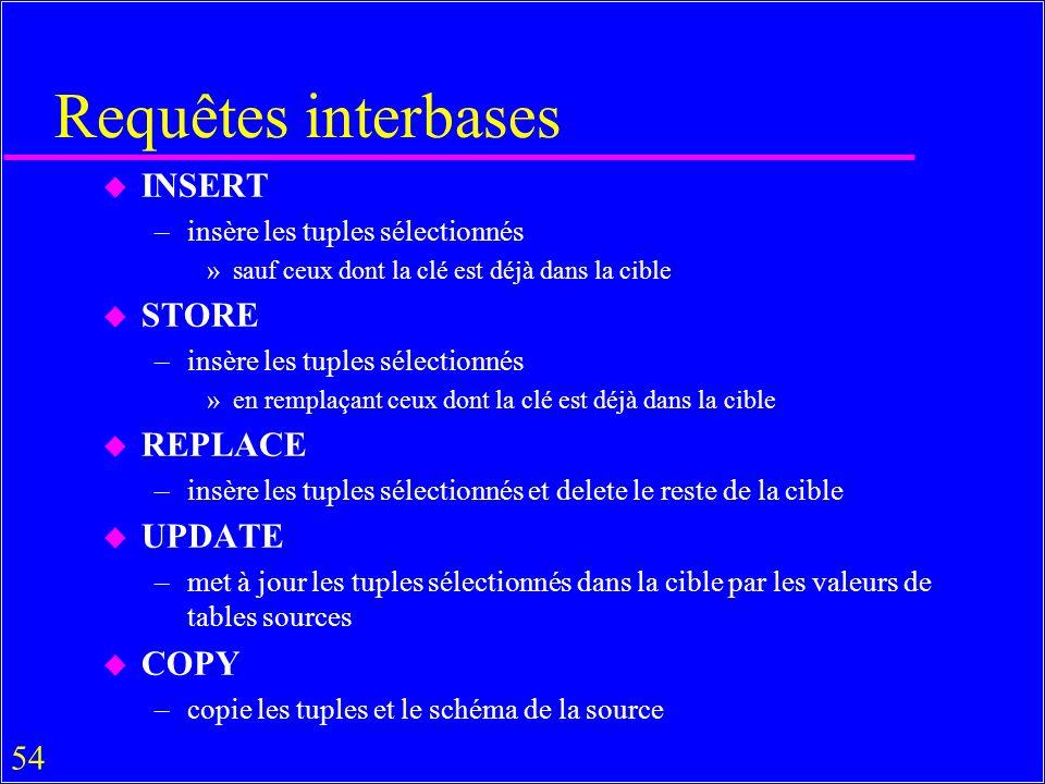 54 Requêtes interbases u INSERT –insère les tuples sélectionnés »sauf ceux dont la clé est déjà dans la cible u STORE –insère les tuples sélectionnés »en remplaçant ceux dont la clé est déjà dans la cible u REPLACE –insère les tuples sélectionnés et delete le reste de la cible u UPDATE –met à jour les tuples sélectionnés dans la cible par les valeurs de tables sources u COPY –copie les tuples et le schéma de la source
