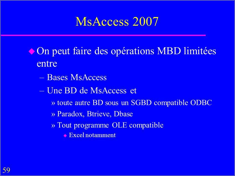 59 MsAccess 2007 u On peut faire des opérations MBD limitées entre –Bases MsAccess –Une BD de MsAccess et »toute autre BD sous un SGBD compatible ODBC »Paradox, Btrieve, Dbase »Tout programme OLE compatible u Excel notamment