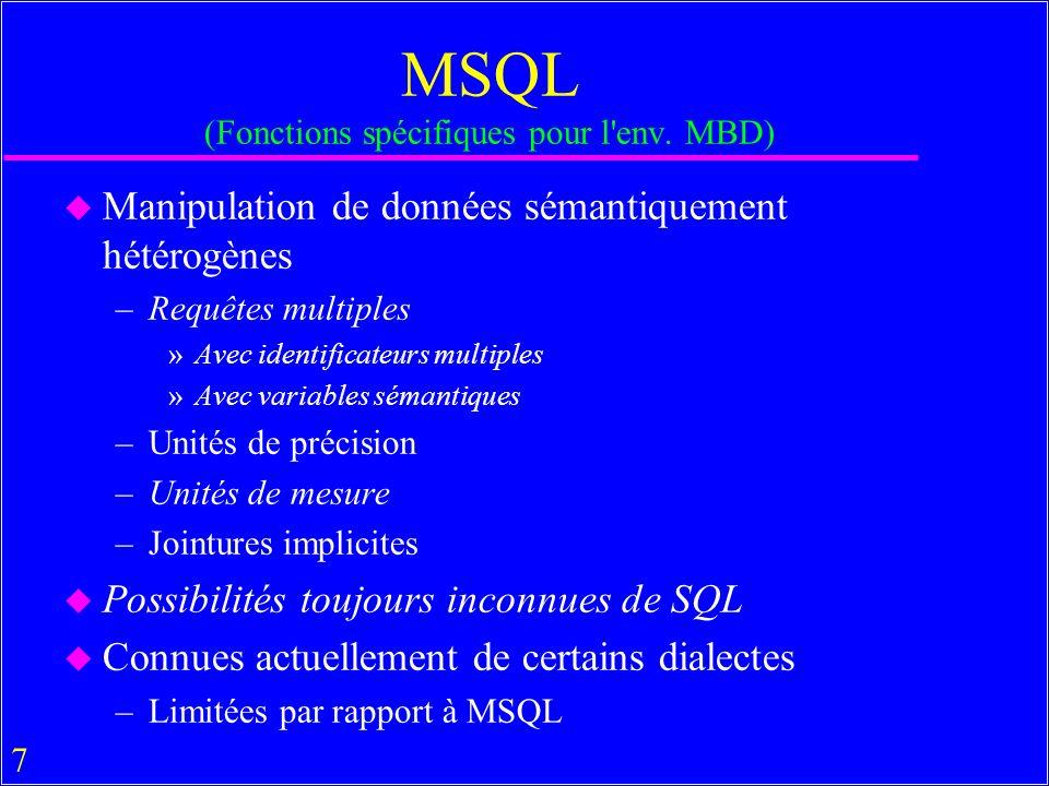 58 Eléments de MSQL en Pratique u Il y a (ou il y avait) aussi beaucoup de SGMB qui ne sont que des systèmes d accès aux SGBDs – Web » MetaCrawler, Iboogie, Voyages-sncf, Edreams –Documentaires »Messidor, Telebase, Folio…