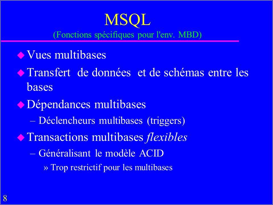 29 Variables sémantiques dans MSQL use banks let x be town city let y be sg bnp select X.* from y.b% X, cic.b% Y where Y.x = Paris and Y.street = X.street and X.x = Paris ; u La sémantique de cette requête .