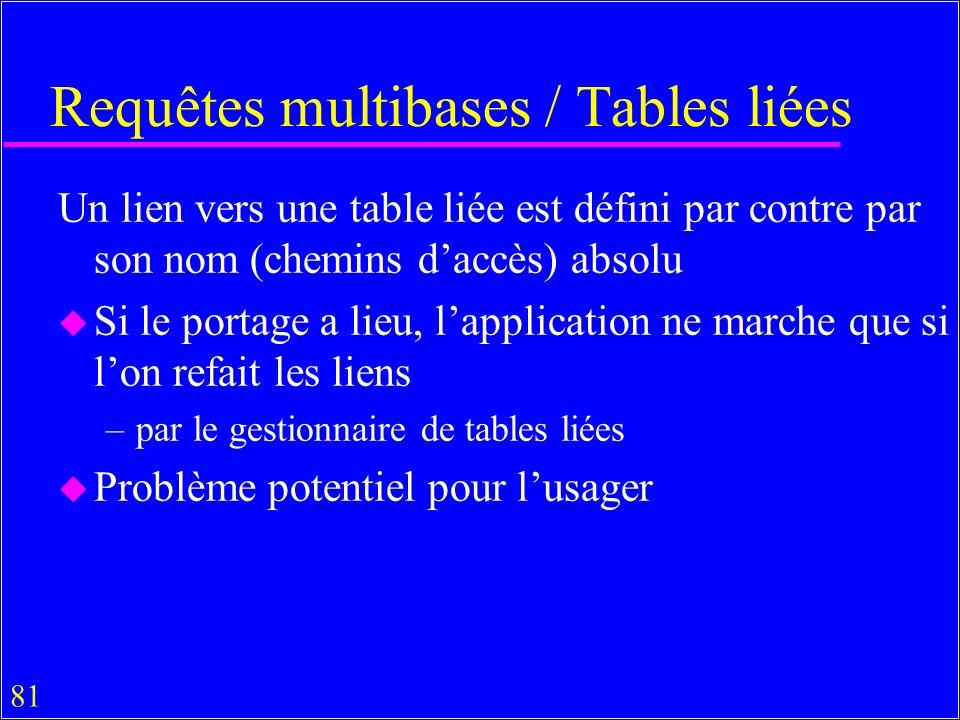 81 Requêtes multibases / Tables liées Un lien vers une table liée est défini par contre par son nom (chemins daccès) absolu u Si le portage a lieu, lapplication ne marche que si lon refait les liens –par le gestionnaire de tables liées u Problème potentiel pour lusager