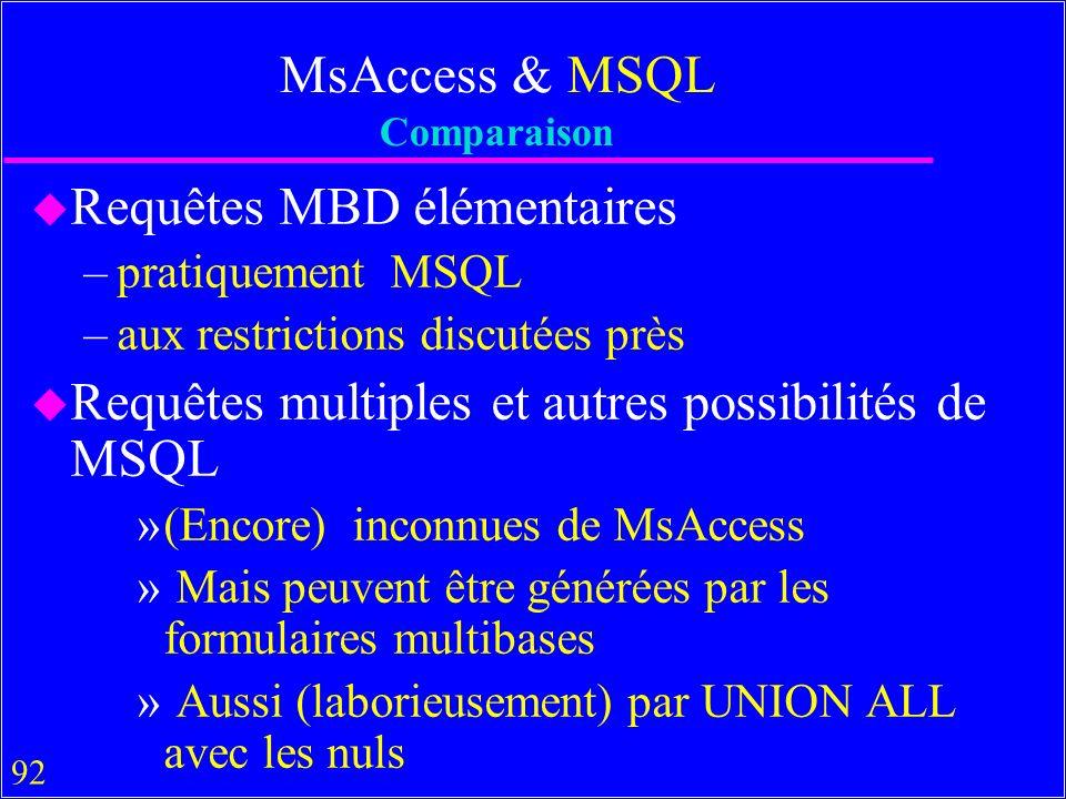 92 MsAccess & MSQL Comparaison u Requêtes MBD élémentaires –pratiquement MSQL –aux restrictions discutées près u Requêtes multiples et autres possibilités de MSQL »(Encore) inconnues de MsAccess » Mais peuvent être générées par les formulaires multibases » Aussi (laborieusement) par UNION ALL avec les nuls
