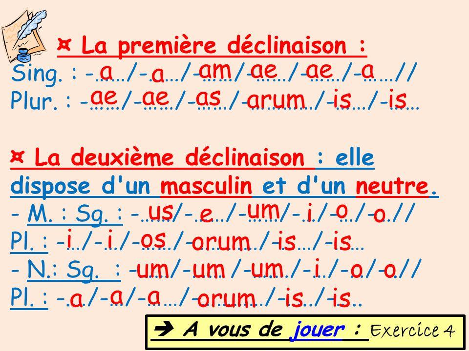 ¤ La première déclinaison : Sing. : -……/-……/-……/-……/-……/-……// Plur. : -……/-……/-……/-…………/-……/-…… ¤ La deuxième déclinaison : elle dispose d'un masculin