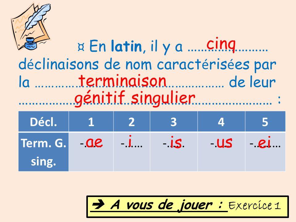 Décl.12345 Term. G. sing. -…… -……… ¤ En latin, il y a …………………… d é clinaisons de nom caract é ris é es par la ………………………………………………… de leur ………………………………