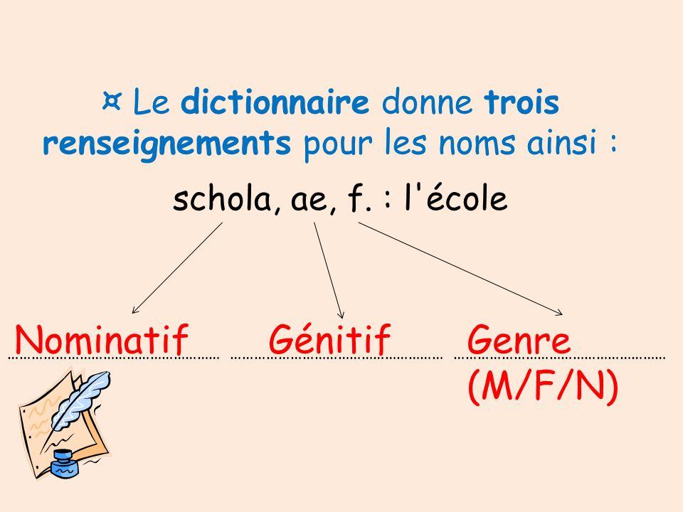 ¤ Le dictionnaire donne trois renseignements pour les noms ainsi : schola, ae, f. : l'école ……………………………………………… ……………………………………………… ……………………………………………… N