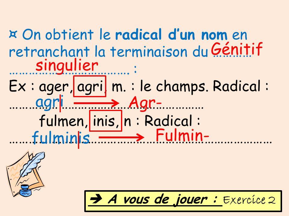 ¤ On obtient le radical dun nom en retranchant la terminaison du ………… ………………………………. : Ex : ager, agri, m. : le champs. Radical : ……………………………………………………