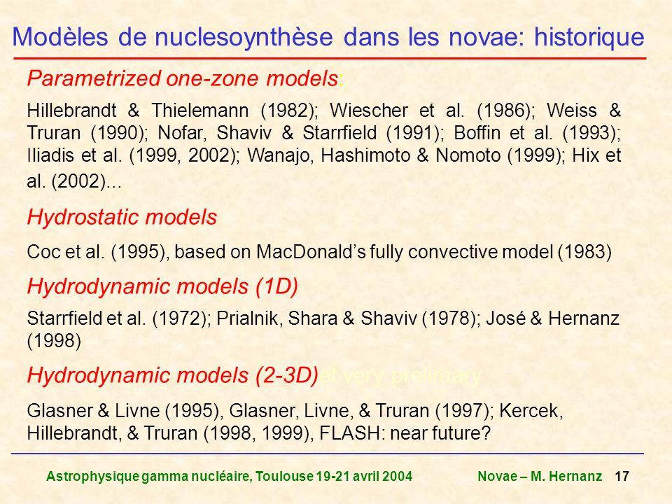 Astrophysique gamma nucléaire, Toulouse 19-21 avril 2004Novae – M. Hernanz 17 Parametrized one-zone models: Hillebrandt & Thielemann (1982); Wiescher