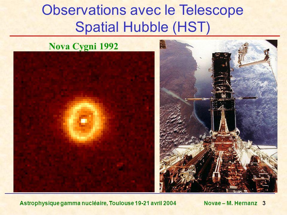 Astrophysique gamma nucléaire, Toulouse 19-21 avril 2004Novae – M. Hernanz 3 Observations avec le Telescope Spatial Hubble (HST) Nova Cygni 1992