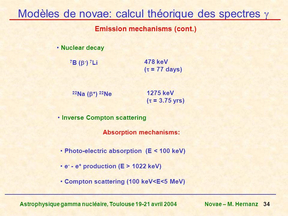 Astrophysique gamma nucléaire, Toulouse 19-21 avril 2004Novae – M. Hernanz 34 Nuclear decay 7 B ( - ) 7 Li 478 keV ( = 77 days) 22 Na ( + ) 22 Ne 1275