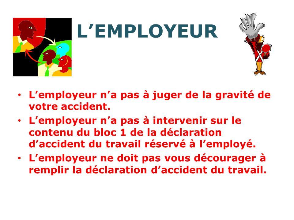 LEMPLOYEUR Lemployeur na pas à juger de la gravité de votre accident.