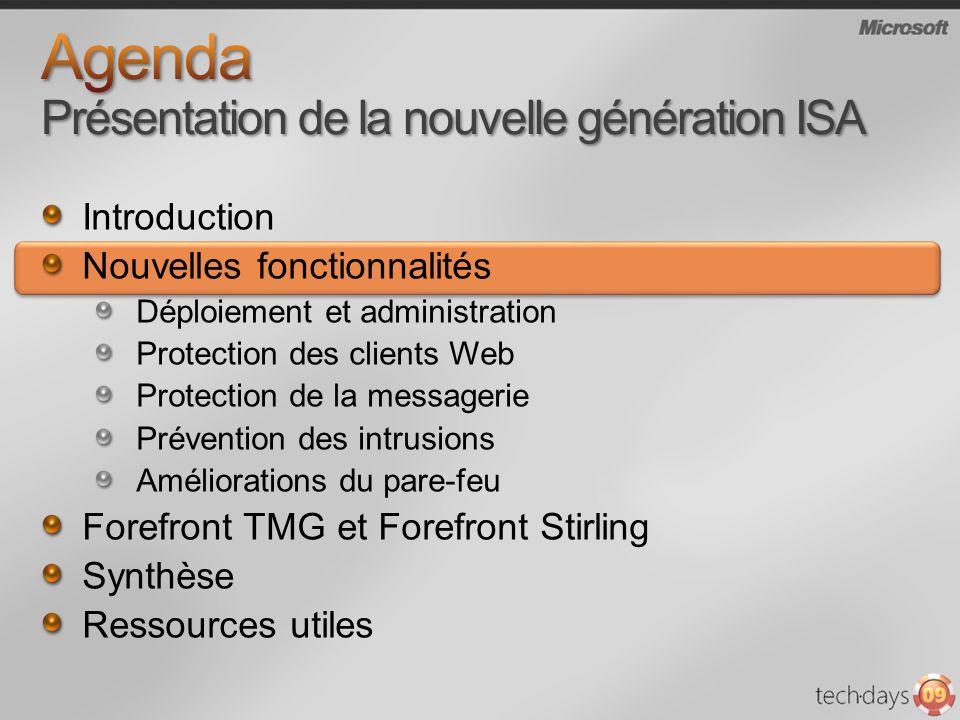 Pré-requis dinstallation Windows Server 2008 64 bit PowerShell,.Net Framework 3.5, MSMQ Assistant de démarrage (configuration initiale) Interface orientée tâches Gestion centralisée de la configuration (groupe de serveurs) Amélioration de la journalisation et des rapports