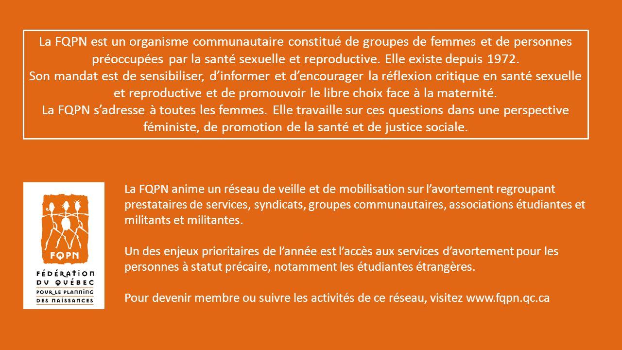 La FQPN est un organisme communautaire constitué de groupes de femmes et de personnes préoccupées par la santé sexuelle et reproductive.