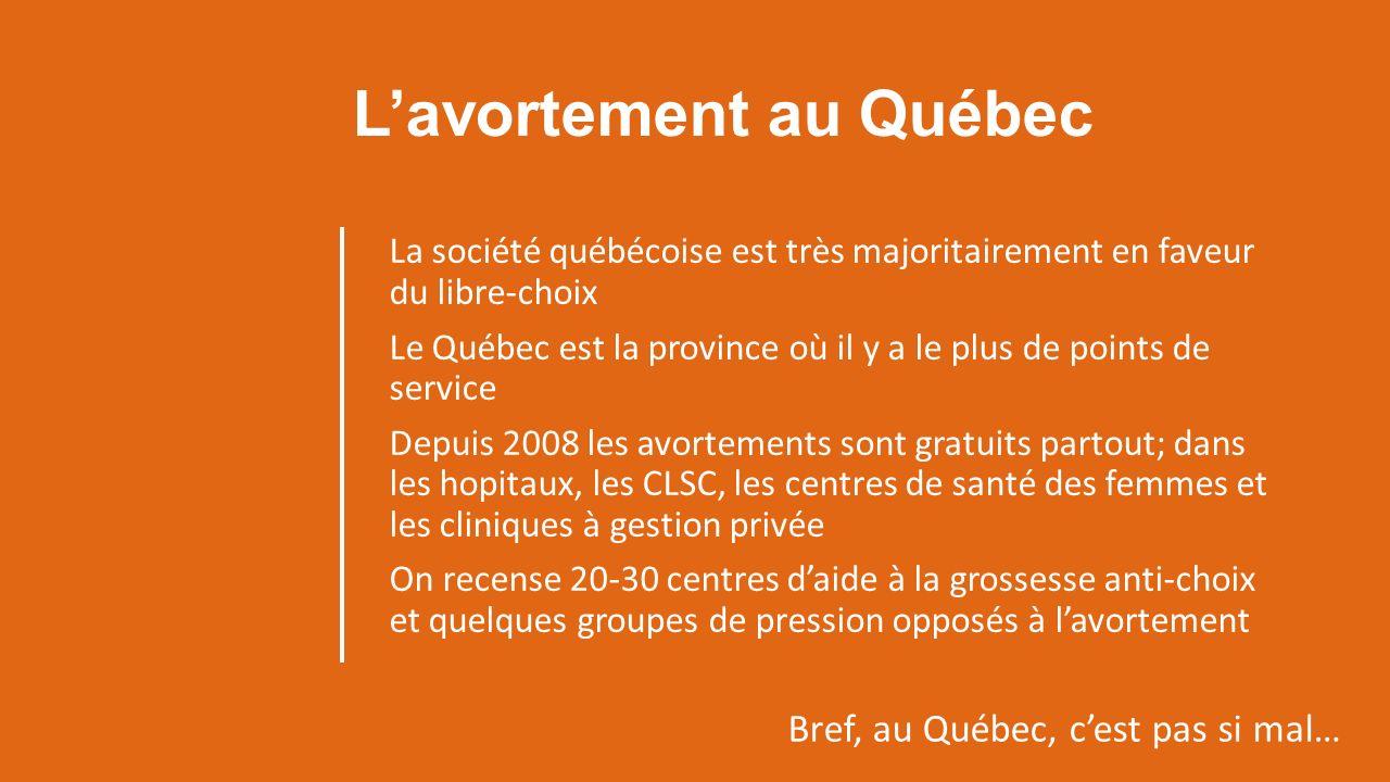 Lavortement au Québec La société québécoise est très majoritairement en faveur du libre-choix Le Québec est la province où il y a le plus de points de service Depuis 2008 les avortements sont gratuits partout; dans les hopitaux, les CLSC, les centres de santé des femmes et les cliniques à gestion privée On recense 20-30 centres daide à la grossesse anti-choix et quelques groupes de pression opposés à lavortement Bref, au Québec, cest pas si mal…