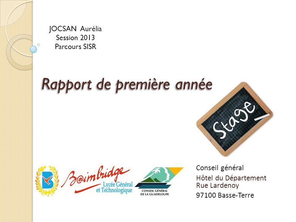 Rapport de première année Conseil général Hôtel du Département Rue Lardenoy 97100 Basse-Terre JOCSAN Aurélia Session 2013 Parcours SISR