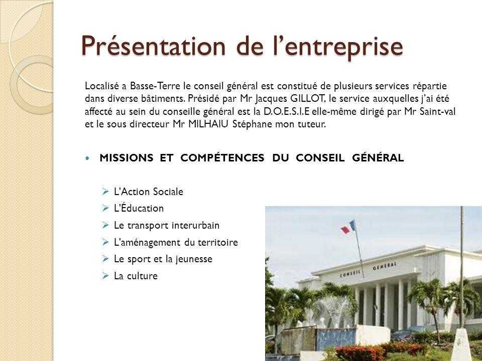 Présentation de lentreprise Localisé a Basse-Terre le conseil général est constitué de plusieurs services répartie dans diverse bâtiments. Présidé par