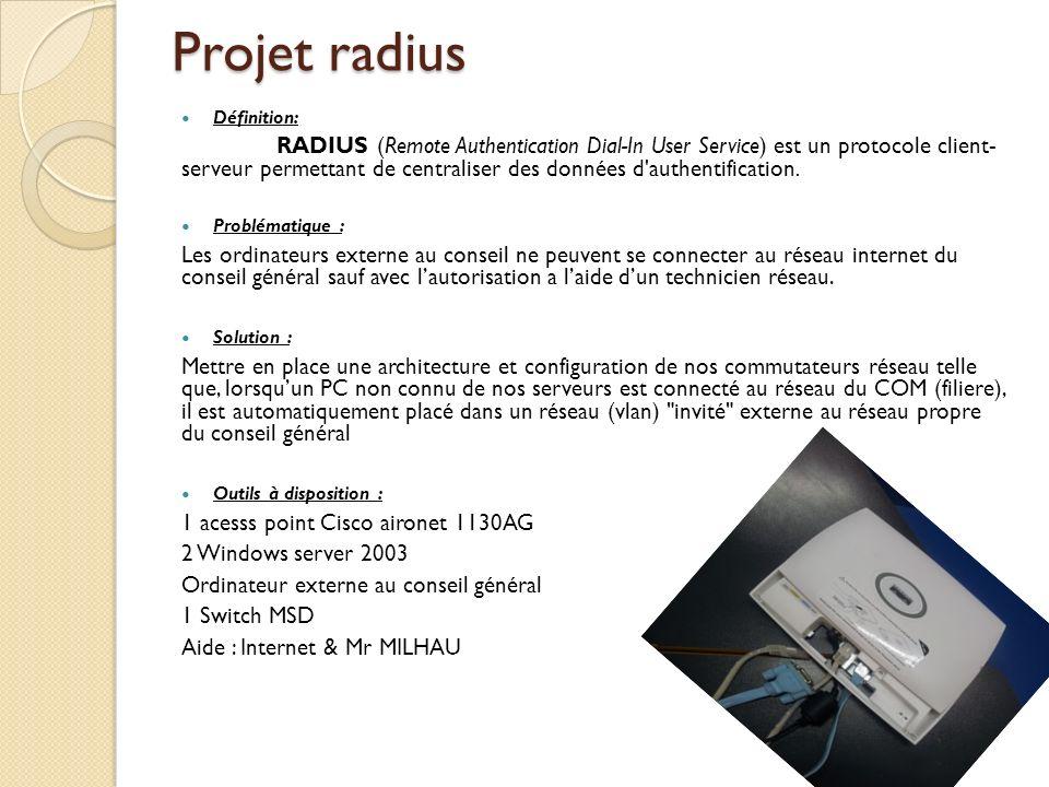 Projet radius Définition: RADIUS (Remote Authentication Dial-In User Service) est un protocole client- serveur permettant de centraliser des données d