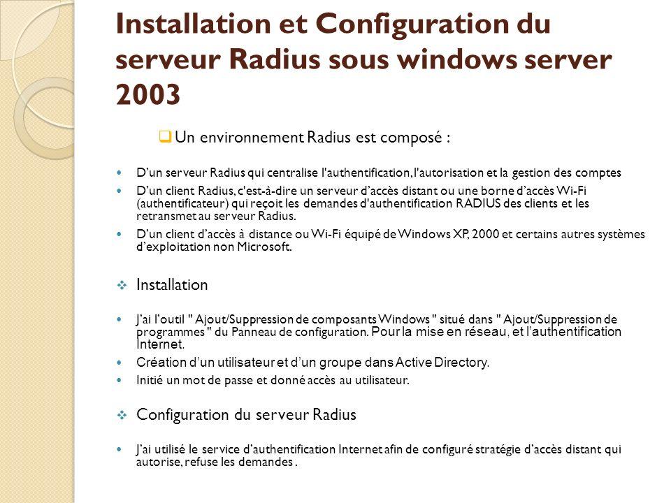 Installation et Configuration du serveur Radius sous windows server 2003 Un environnement Radius est composé : Dun serveur Radius qui centralise l'aut