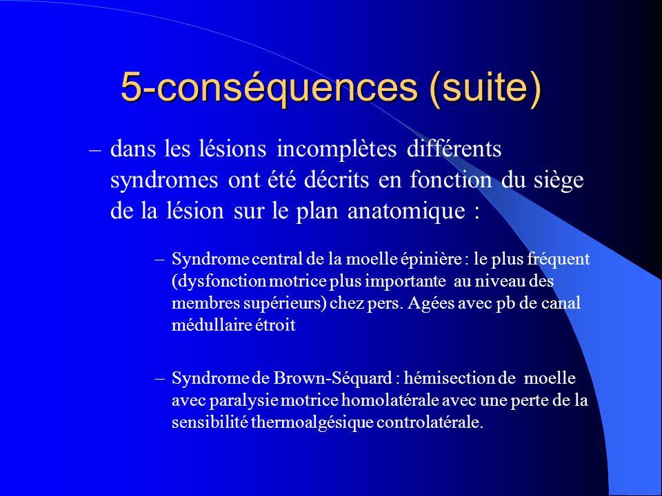 – dans les lésions incomplètes différents syndromes ont été décrits en fonction du siège de la lésion sur le plan anatomique : –Syndrome central de la