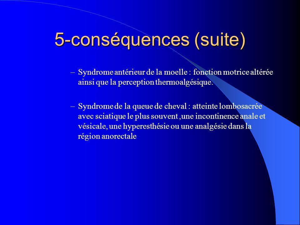 –Syndrome antérieur de la moelle : fonction motrice altérée ainsi que la perception thermoalgésique. –Syndrome de la queue de cheval : atteinte lombos