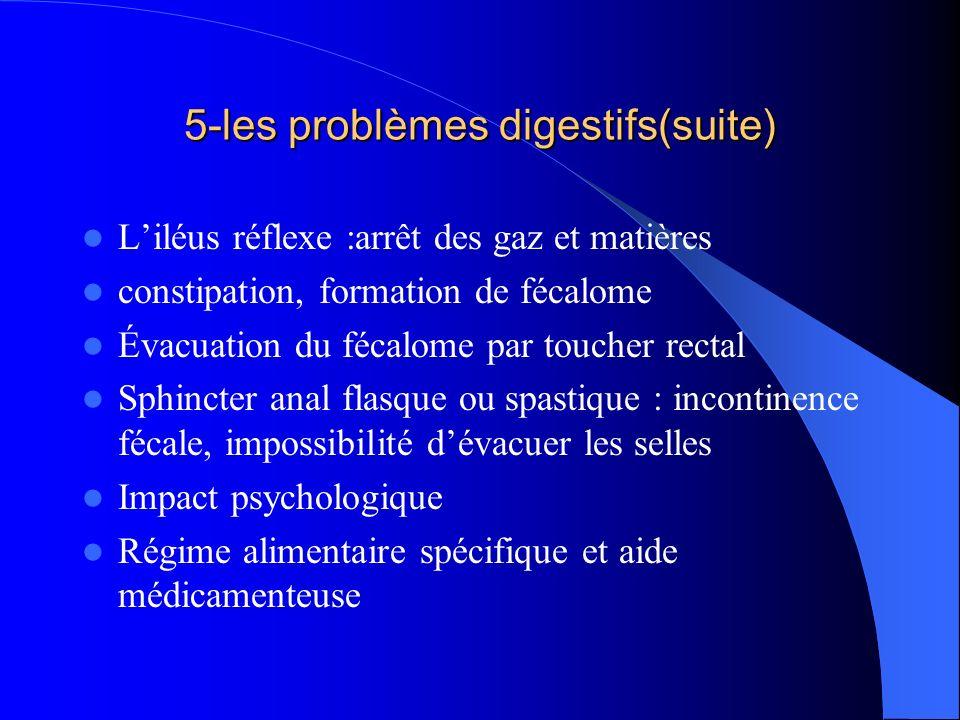 5-les problèmes digestifs(suite) Liléus réflexe :arrêt des gaz et matières constipation, formation de fécalome Évacuation du fécalome par toucher rect
