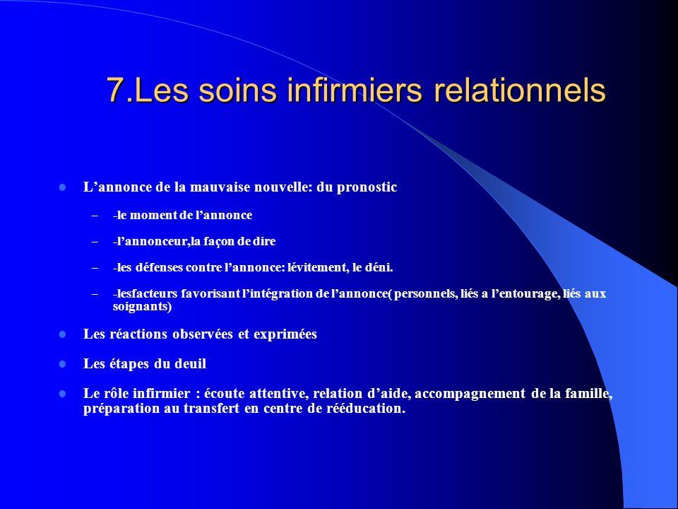 7.Les soins infirmiers relationnels Lannonce de la mauvaise nouvelle: du pronostic – -le moment de lannonce – -lannonceur,la façon de dire – -les défe