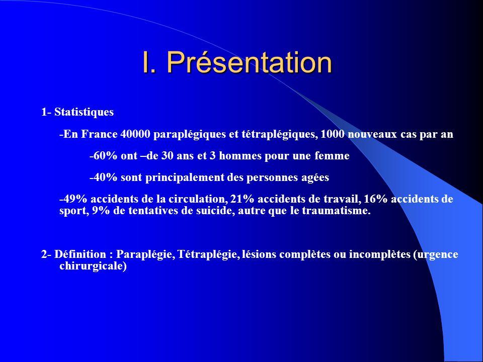 I. Présentation I. Présentation 1- Statistiques -En France 40000 paraplégiques et tétraplégiques, 1000 nouveaux cas par an -60% ont –de 30 ans et 3 ho