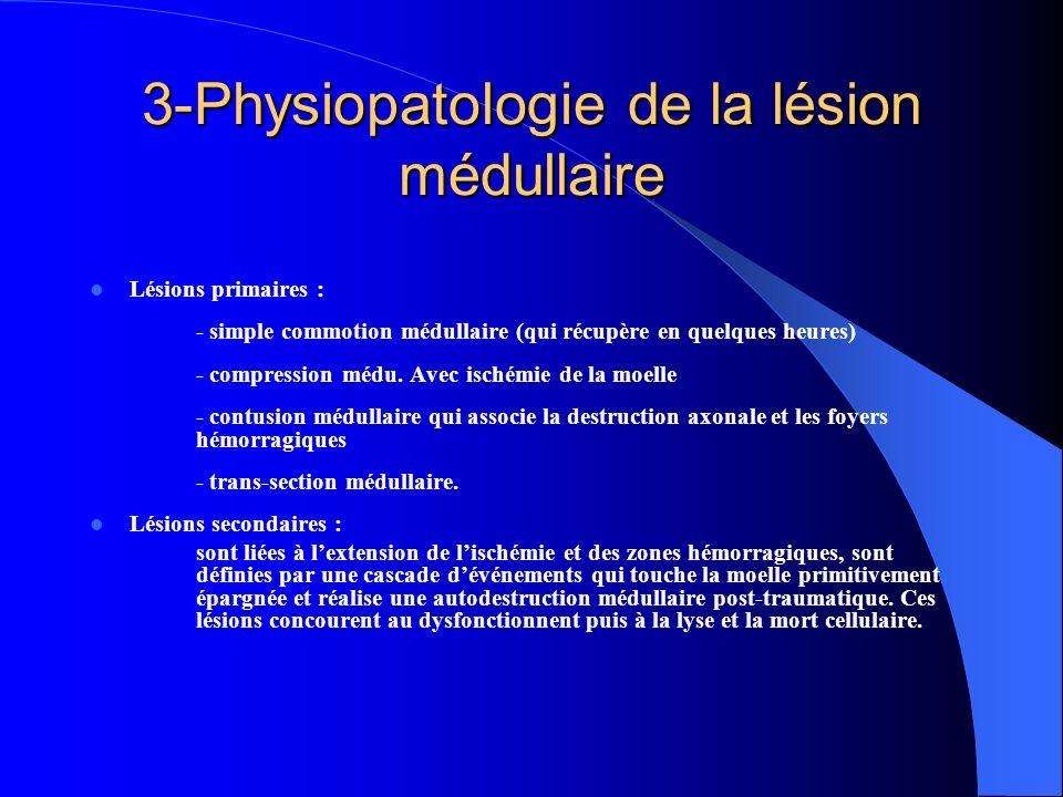 3-Physiopatologie de la lésion médullaire Lésions primaires : - simple commotion médullaire (qui récupère en quelques heures) - compression médu. Avec