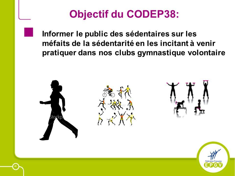 29 Objectif du CODEP38: Informer le public des sédentaires sur les méfaits de la sédentarité en les incitant à venir pratiquer dans nos clubs gymnasti